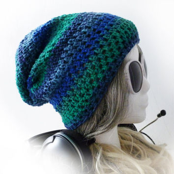 Crochet Beanie Slouchy Hat Electric Blue Green by Cuteling on Etsy