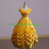 Beauty and the Beast Cosplay Belle Evening Gown Dress, Disney Princess Belle Cosplay Costume Custom Any Size For adult,Kids And Plus Size