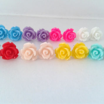 Rose Flower Colour Cabochon Stud Earrings