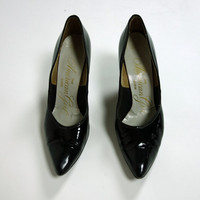 1960s patent leather black heels, 3 inch heels with closed pointed toe size 5.5