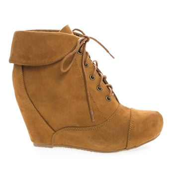 Carmela24 Cognac By Bamboo, Almond Toe Lace Up Folded Cuff Hidden High Wedge Ankle Bootie