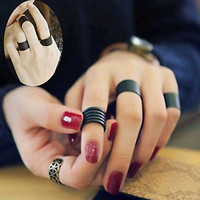 Hot 3pcs Ring Set Retro Style Fashion Black Stainless Steel Punk Knuckle Rings