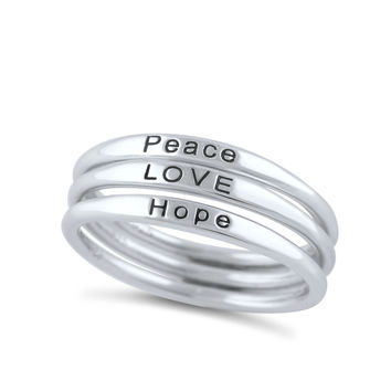 Sterling Silver Thin Stackable Hope Love Peace Ring