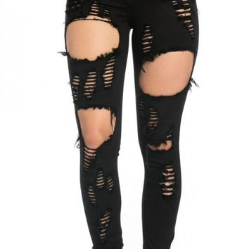 Super Distressed High Waisted Skinny Jeans in Black