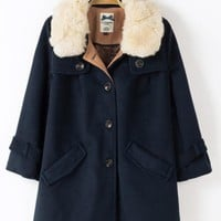 New Rabbit Fur Collar Single Breasted Woolen Overcoat,Cheap in Wendybox.com