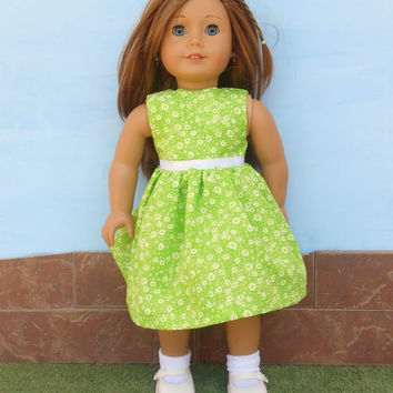 18 Inch Doll Clothes, Green Doll Dress, Lime Green Doll Dress, Light Green Floral Doll Dress, Summer Doll Clothes, Fits American Girl Dolls
