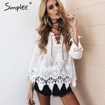 Simplee White lace up embroidery cotton blouse shirt women Vintage v neck fringe blouse tops Chic black long sleeve blouse 2016