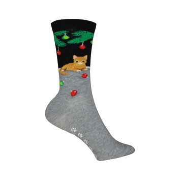 Non Skid Christmas Cat Crew Socks in Black