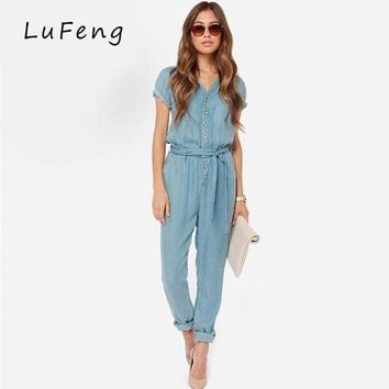 ESBONFI Spring New Casual V-Neck Denim Overalls Jumpsuit Loose Bodysuit Rompers Short Sleeve Womens Jeans long Female Jean 15150B653-923