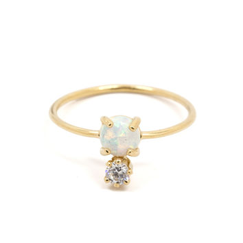 Double Dose Opal + Diamond Ring