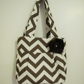 Italian Brown Chevron Folklore Bag - Adjustable Crossbody Handbag - Tote
