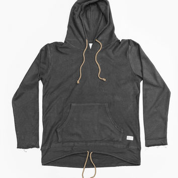 Double Layer Reversed French Terry Hoodie in Black