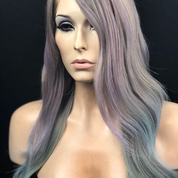 Pastel Purple & Light Blue Ombre Mermaid  Wig // Heat Safe Human Hair Blended Wig