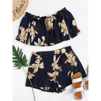 Off Shoulder Floral Print Top With Shorts