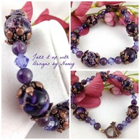 Purple Imperial Jasper Amethyst Swarovski Handmade Bangle Copper Clasp