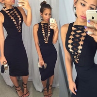 Casual Sleeveless Criss Cross Strap Deep V-Neck Bodycon Midi Dress