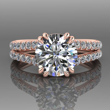 Round Forever One Moissanite Bridal Ring Set 18K Rose Gold