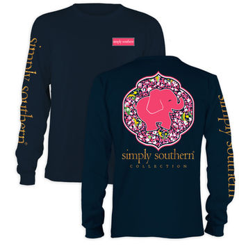 Simply Southern Youth Preppy Elephant Daisy Navy Long Sleeve T-Shirt