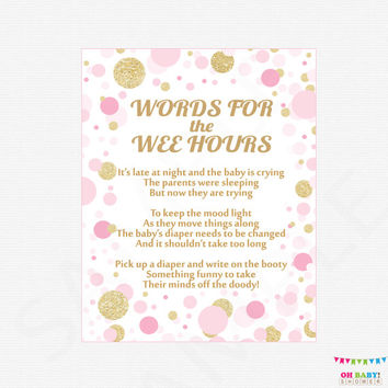 Words for the Wee Hours, Late Night Diapers, Diaper Game Sign, Pink Gold Baby Shower Games, Printable Baby, Pink Gold Confetti, CB0003-pg