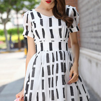 Black and White Striped High Waist Short Sleeve Skater Dress