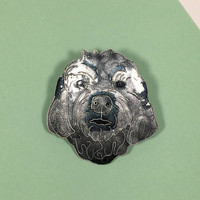 Vintage Gray Shih Tzu Pin, Glass Enamel on Sterling Silver Dog Jewelry, Dog Lover Wearable Art, Animal Lover Fashion Accessory
