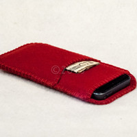 100% wool felt  sleeve for your iphone with card pocket