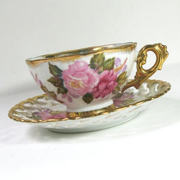 Royal Sealy lustreware tea cup set pink rose tea cup and latticed saucer - Japanese tea set footed tea cup