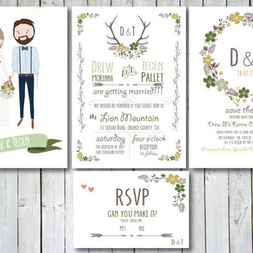 Custom and illustrated Wedding Invitations, Save the Date and RSVP