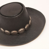 RARE 70s Vintage Lady Stetson Black Concho Gambler Hat | Straw Silver Conchos Womens Size Small | Southwestern Cowboy Hat Boho Western Chic