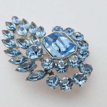 Rhinestone Brooch, Something Blue, Mad Men, Bridal Brooch, Hairpiece, Something Old, MId Century, Vintage Wedding