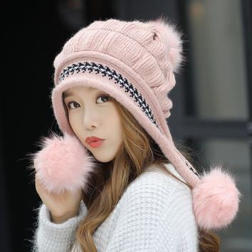 Fashion Women's Winter Hats Fur Hats Knitting Fox Fur Hat Pom Poms Ball Beanie Caps Thick Skullies Female Cap Gorros with Gloves