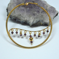 Gold & Garnet Big Hoop Earrings