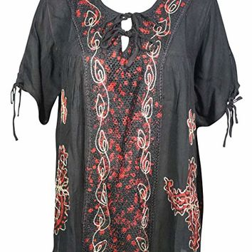 Mogul Interior Lena Womens Summer Tunic Blouse Embroidered Designs Boho Gypsy Style Beach Top X-L