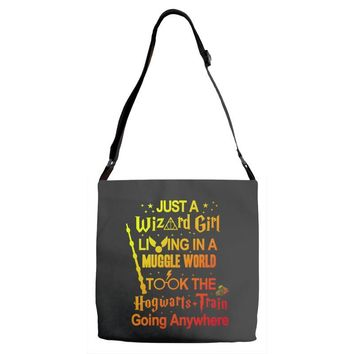 Just A Wizard Girl Living In A Muggle World Adjustable Strap Totes