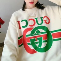 """Gucci"" Woman Casual Wild Fashion Letter Printing Spell Color Loose Long Sleeve T-Shirt Tops"