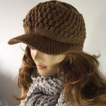 KNITTING PATTERN Newsboy Hat - Olivia Newsboy Cap Knitted Hat Baseball style Knit Hat Pattern