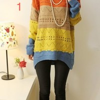 Brand New Rainbow Colourful Aztec Tribal Knit Sweater