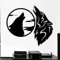 Wall Decal Wolves Pack Howl Night Moon Beast Animal Sky Vinyl Stickers (ed256)