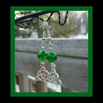 Celtic Earrings Antique Silver and Stainless Steel. Green Crackle Beads. Fish Hook Ear Hooks. Lightweight. Handmade.