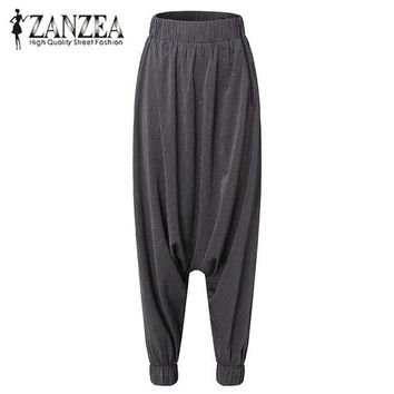 zanzeaWomens striped harem pant casual loose solid elastic cross pants elegant basic long trousers plus size
