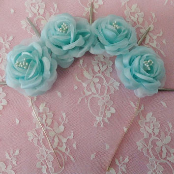 Pastel Goth Seafoam Aqua flower  headband with silver spikes