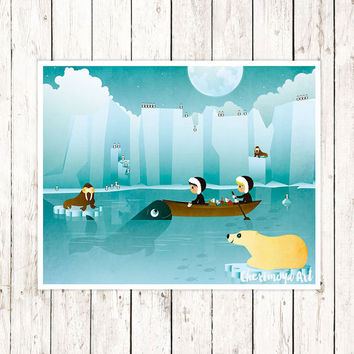 Arctic Art Print  Baby Boy Nursery Art Kids Wall Art  Boys Room Decor Gift for Boys Polar Bear Nursery Nautical Wall Art Ocean Illustration