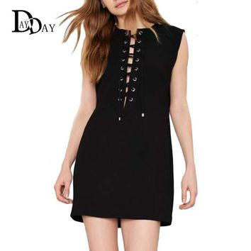 European Style Summer Sexy Lace up Black Dresses Punk Sleeveless Straight Casual Sexy Party Club Mini Bandage Dress G009