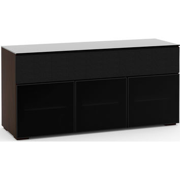 Oslo 65 Inch TV Stand Cabinet Soundbar Opening Wenge Black Glass