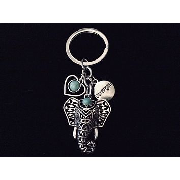 Elephant Key Chain Strength FOB Keychain Turquoise Silver Key Ring Gift Inspirational Jewelry