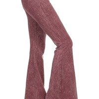 Chatoyant Mineral Wash Flare Pants in Mauve