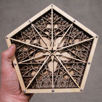 Pentacular - a 5-layer mandala of lasered wood