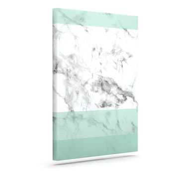 "KESS Original ""Mint Marble Fade"" White Green Canvas Art"