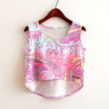 2017 New Fashion Women's Summer Sleeveless Tops Colorful Flower Beading Short T Shirts Basic Top Slim Sexy Cropped Tees