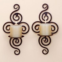 Gifts & Decor Pair of Swirling Iron Hanging Wall Candleholder Sconce